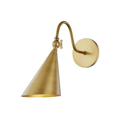 Lupe 1-Light Aged Brass Wall Sconce