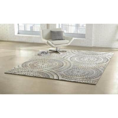 Spiral Medallion Grey 2 ft. x 7 ft. Runner Rug
