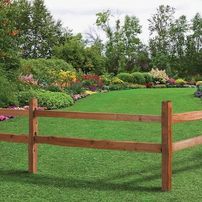 3-1/2 in. x 3-1/2 in. x 5 ft. 2-Hole Red Cedar Split Rail Fence Corner Post