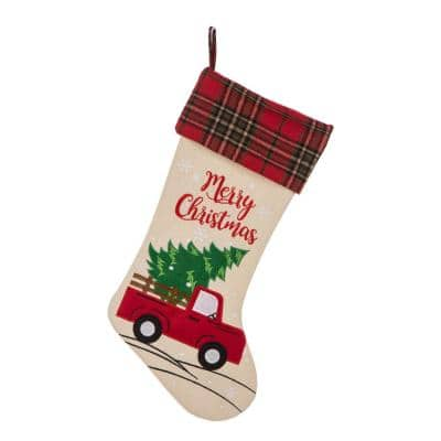 21 in. L Embroidered Linen Christmas Stocking - Red Truck