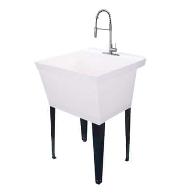 22.875 in. x 23.5 in. White 19 Gallon Thermoplastic Utility Sink Set with High-Arc Stainless Steel Coil Pull-Down Faucet