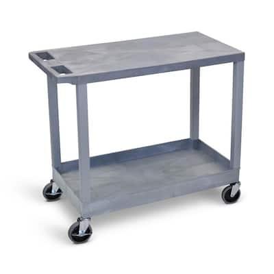 35.25 in. W x 18 in. D x 32.5 in. H 1-Tub and 1-Flat Shelf Utility Cart in Gray