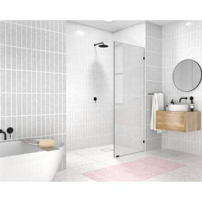 29 in. x 78 in. Frameless Fixed Shower Door in Matte Black without Handle