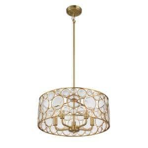 5-Light Satin Brass Pendant with Clear Glass