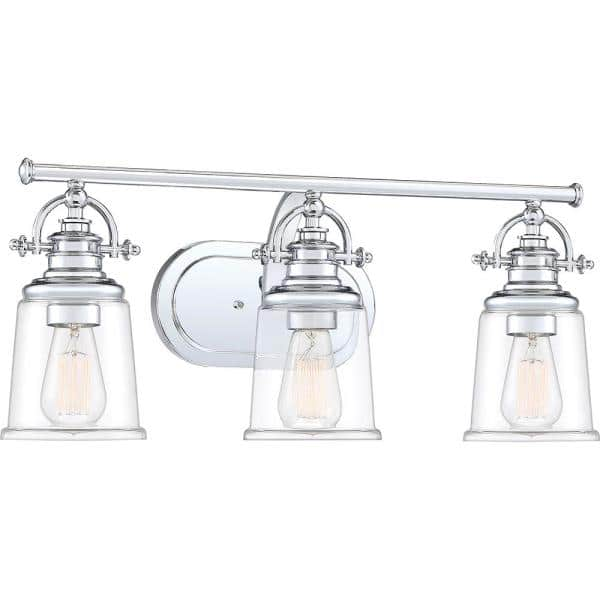 Quoizel Grant 3 Light Polished Chrome Vanity Light Grt8603c The Home Depot