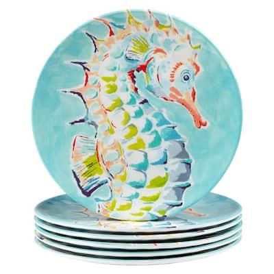 Deep Sea 6-Piece Multicolored Melamine 9 in. Salad Plate Set (Service for 6)