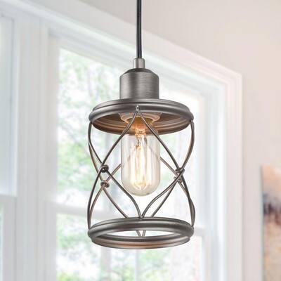 Modern Farmhouse 1-Light Mini Pendant with Dark Pewter Geometric Openwork Cage Design Shade