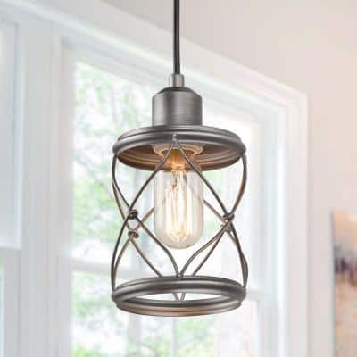 Modern Farmhouse 1-Light Mini Pendant with Dark Pewter Geometric Openwork Cage Design Shade
