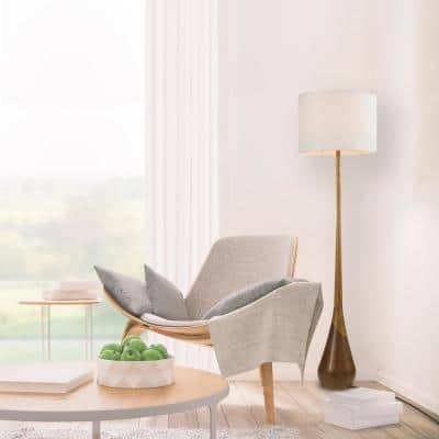 Harrington 65 in. Faux Wood Floor Lamp with White Fabric Shade