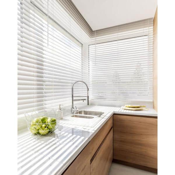 Chicology Basic Collection Pre Cut White Cordless Room Darkening Faux Wood Blind With 2 In Slats 71 In W X 36 In L Cfw Bw 7136 The Home Depot