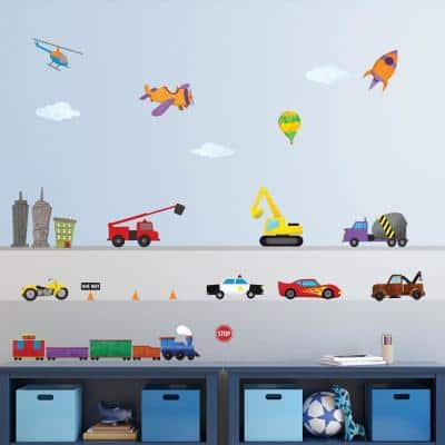 Car, Truck and Train Multi Peel and Stick Removable Wall Decals Transportation Theme Mural (27-Piece Set)