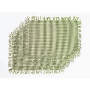 Homespun Fringed Sage 100% Cotton Placemat (Set of 4)