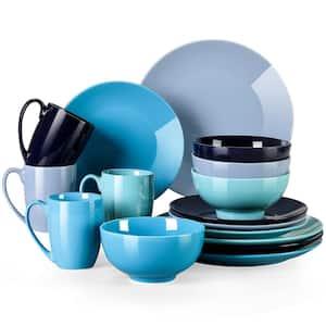 Sweet 16-Piece Blue Gradient Porcelain Dinnerware Sets (Service for 4 )
