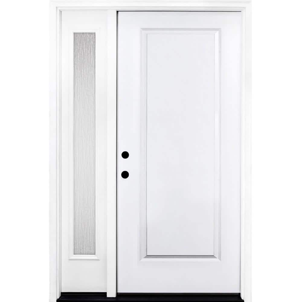 Steves Sons 53 In X 80 In Classic 1 Panel Rhis Primed White Steel Prehung Front Door With Single 14 In Rain Glass Sidelites St10 Pr S14rn 4rh The Home Depot