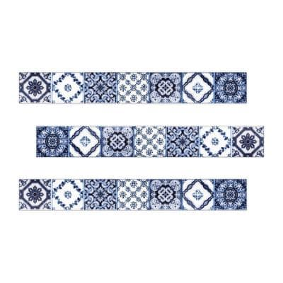 Barcelona 16 in. x 2 in. Blue and White Ceramic Decorative Listello Wall Tile (3-Pack)