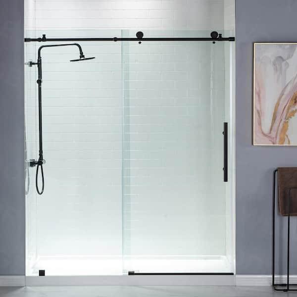 X 76 In Frameless Sliding Shower Door, Shower Stall Glass Doors Home Depot