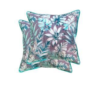 18 in. Cairo Dark Palm Square Outdoor Throw Pillow (2-Pack)