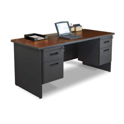 66 in. W x 30 in. D Mahogany Laminate and Dark Neutral Double Pedestal Desk