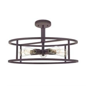 New Harbor 20 in. 5-Light Western Bronze Semi-Flush Mount