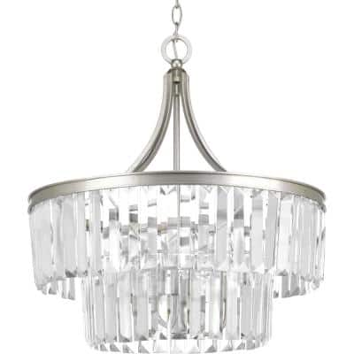 Glimmer Collection 5-Light Silver Ridge Pendant with Clear Glass