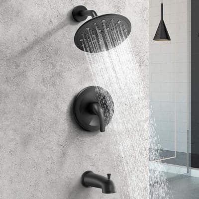 Single-Handle 2-Spray Settings Round High Pressure Shower Faucet with Tub Spout in Matte Black Valve Included