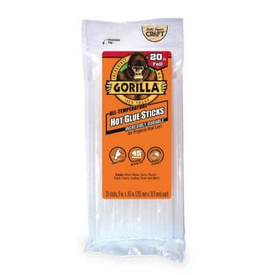 8 in. Full Hot Glue Sticks (20-Count) (4-Pack)