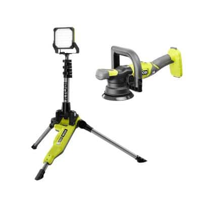 ONE+ 18V 5 in. Variable Speed Dual Action Polisher with ONE+ 18V Cordless Hybrid Tripod Stand Light (Tools Only)
