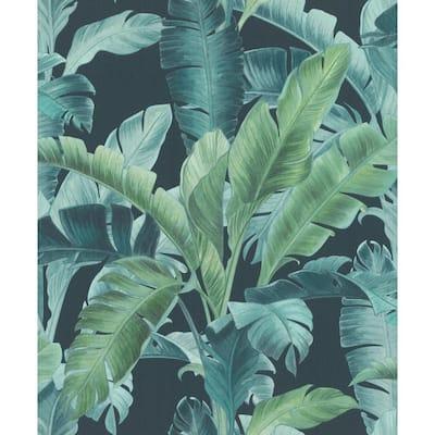 Orissa Dark Blue Palm Frond Wallpaper