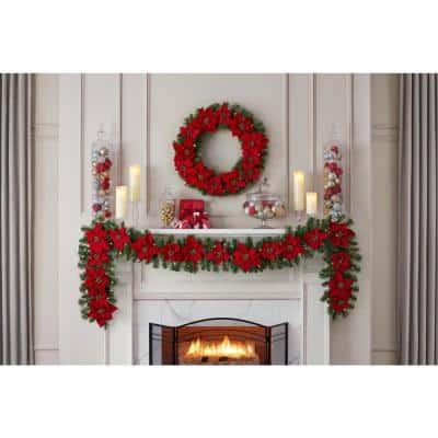 9 ft. Berry Bliss Battery Operated Pre-Lit LED Artificial Christmas Garland with Poinsettia