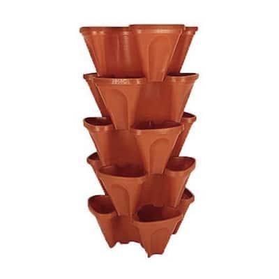 18 in. Dia Terra Cotta Plastic Stackable Garden Planter (5-Pack)