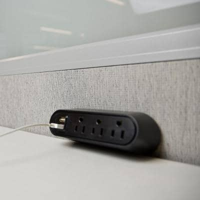 Wiremold 3-Outlet Desktop Power Strip Center Kit with USB A, 6 ft. Cord, Black