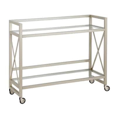 Holly Satin Nickel Bar Cart