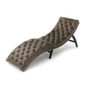 Gray Tufted New Velvet Curved Chaise Lounge