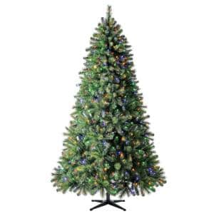 7.5 ft Wesley Long Needle Pine LED Pre-Lit Artificial Christmas Tree with 550 Color Changing Mini Lights