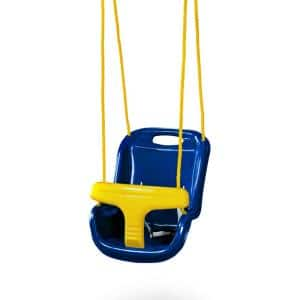 Blue High Back Infant Swing with Ropes