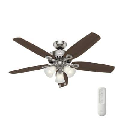 Builder Plus 52 in. Indoor Brushed Nickel Ceiling Fan With LED Light Kit and Remote