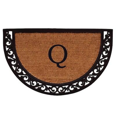 Ornate Scroll 18 in. x 30 in. Monogram Q Door Mat