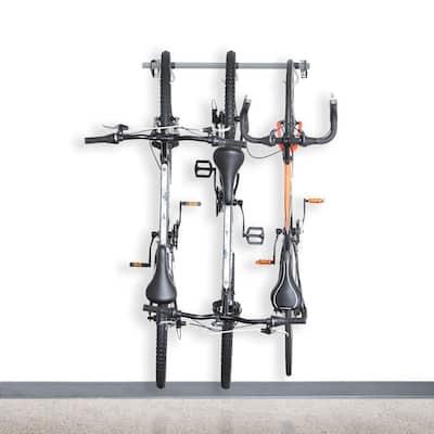 Gray 3-Bike Wall Mounted Garage Bike Rack