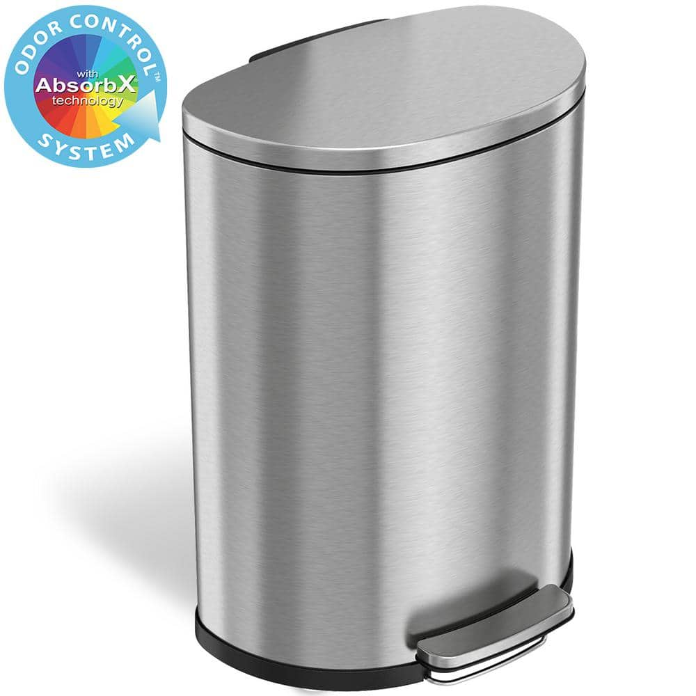 Itouchless Softstep 13 2 Gal Semi Round Stainless Steel Step Trash Can With Odor Control System And Inner Bin For Office Kitchen Pc13dds The Home Depot