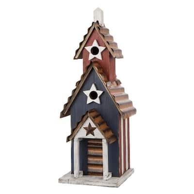 24.41 in. H Oversized Wooden/Rustic Metal Patriotic Birdhouse