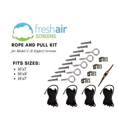 Rope and Pull Large Kit Fitting 2 Zippered Garage Screens up to 16 ft. Wide x 8 ft. High