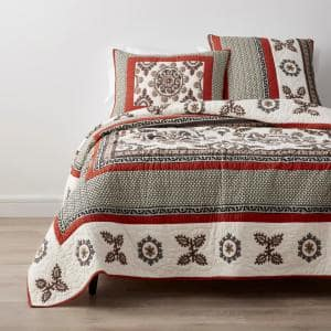 Suzani Multicolored Geometric Cotton Crewel Embroidered King Quilt