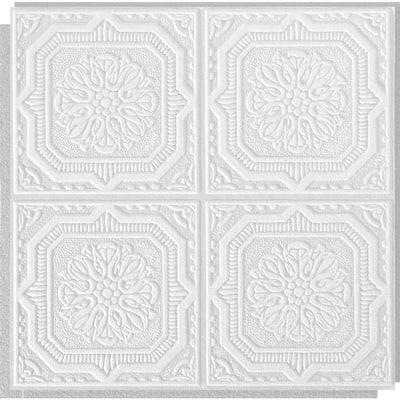 Wellington 1 ft. x 1 ft. Clip Up or Glue Up Fiberboard Ceiling Tile in White (40 sq. ft./case)