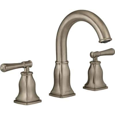 Aurora Collection. 8 in. Widespread 2-Handle Bathroom Faucet. in Brushed Nickel Finish