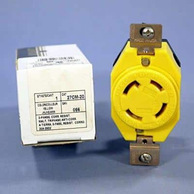 30 Amp 250-Volt- 3PY Flush Mounting Locking Outlet Industrial Grade Grounding Corrosion Resistant, Yellow