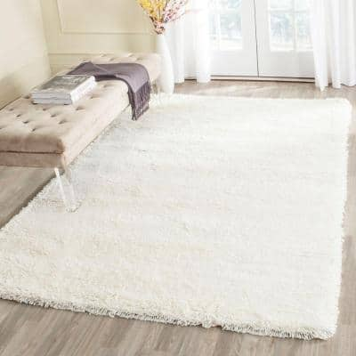 Classic Shag White 9 ft. x 12 ft. Solid Area Rug