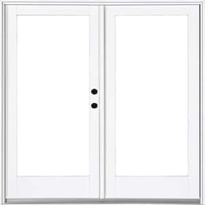 72 in. x 80 in. Fiberglass Smooth White Left-Hand Inswing Hinged Patio Door