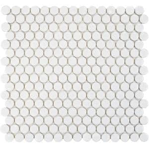Hudson Penny Round Glossy White 12 in. x 12-5/8 in. x 5 mm Porcelain Mosaic Tile (10.74 sq. ft. / case)