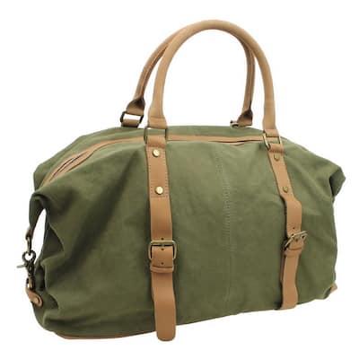 18 in. Medium Classic Canvas with Full Grain Leather Overnight Duffel Bag