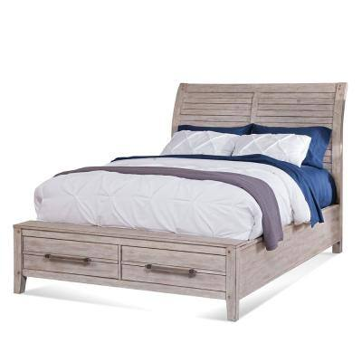 Aurora Whitewashed Queen Sleigh Bed